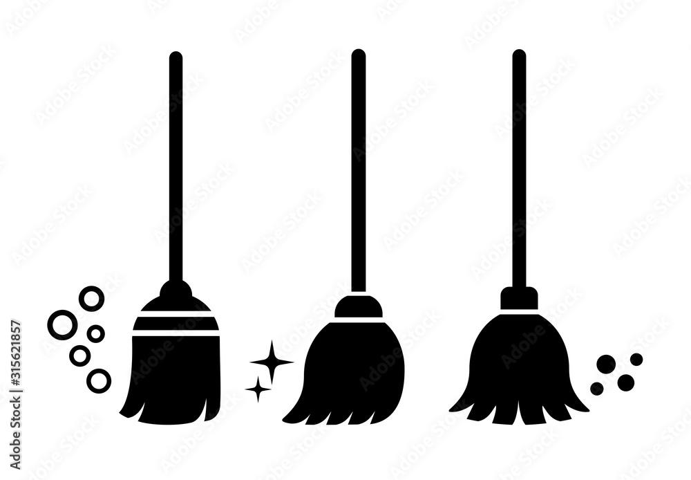 Fototapeta Broom vector icons set