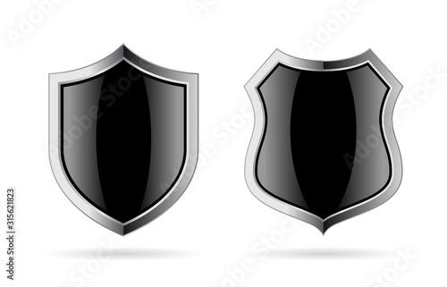 Fototapeta Black glass shield vector icon