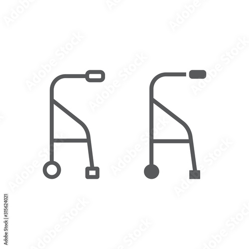 Walkers line and glyph icon, medical and equipment, walking sticks for seniors sign, vector graphics, a linear pattern on a white background Wallpaper Mural