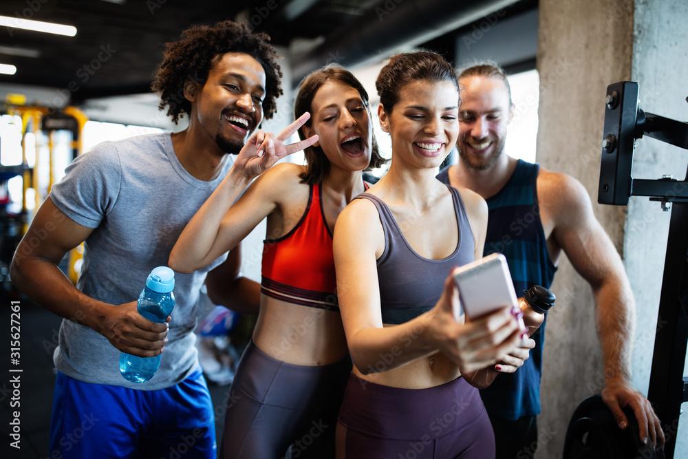 Fototapeta Sport, teamwork, unity, gym, teambuilding, motivation, active life concept