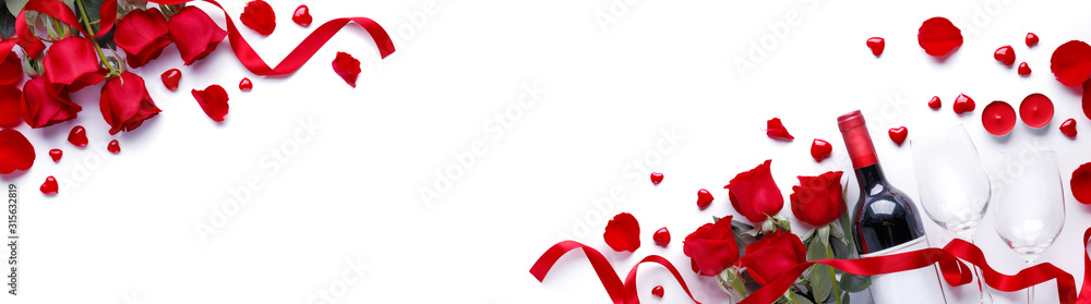 Fototapeta Valentine Wine And Roses
