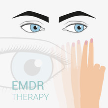 Psychotherapy And Psychology. Emdr Therapy Help With Psychological Problems. Sadness, Longing, Despondency, Depression. Eye Movement To The Right And Left.