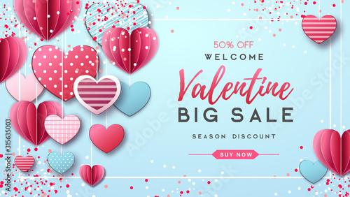 Obraz Happy Valentine`s day background with love hearts. Valentine`s day sale poster - fototapety do salonu