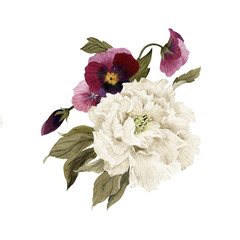 Fototapeta Vintage Bouquet of peonies and pansy, watercolor, can be used as greeting card, invitation card for wedding, birthday and other holiday and summer background