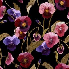 Fototapeta Optyczne powiększenie Seamless floral pattern with pansy, watercolor