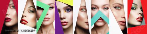 Obraz collage. beautiful women. female faces into color paper - fototapety do salonu