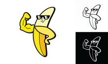 Illustration Vector Graphic Of Muscle Banana Showing His Bicep. Perfect For Nutrition Product, Etc.