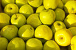 canvas print picture - Top view on fresh sweet and sour green apples. Organic products. Fruit background