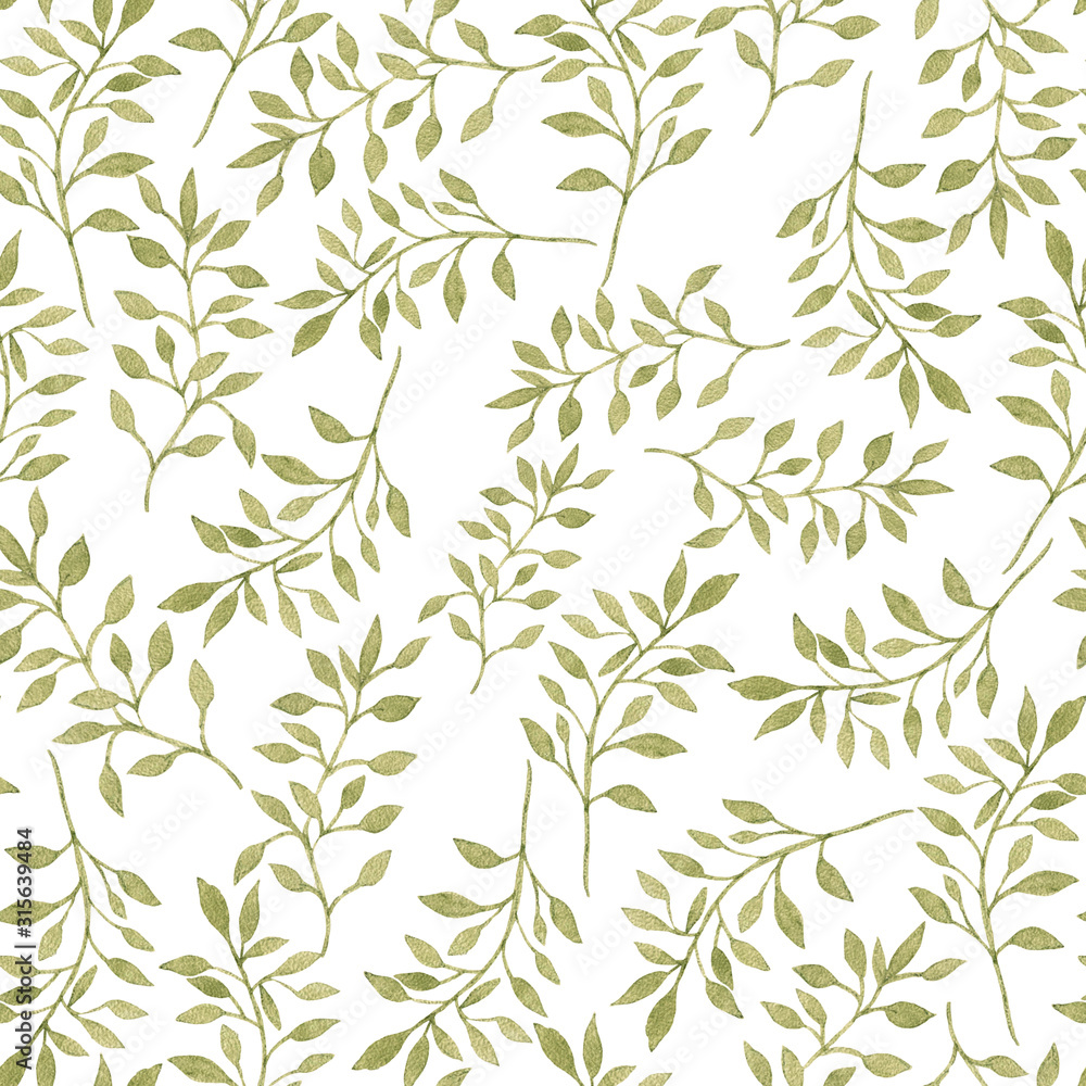Fototapeta Seamless floral pattern with green leaves. Watercolor