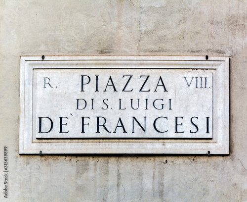 street sign Piazza di San Luigi de' Francesi Poster Mural XXL