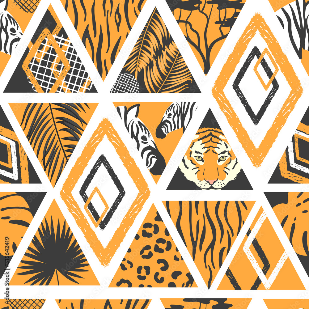 Fototapeta Seamless african pattern in patchwork style. Vector trendy background with animal print, palm leaves.