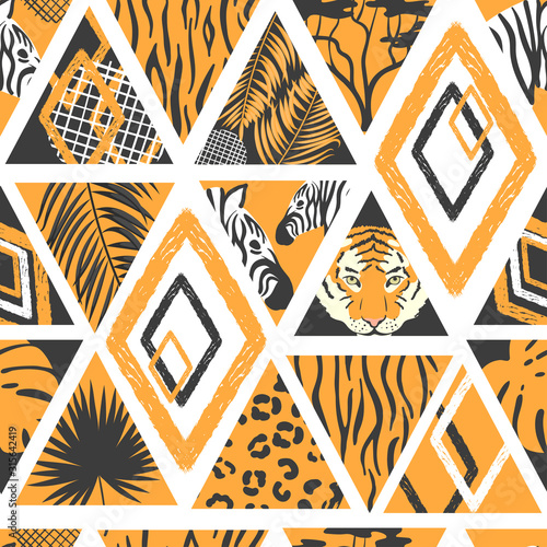 mata magnetyczna Seamless african pattern in patchwork style. Vector trendy background with animal print, palm leaves.