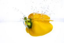 Fresh Yellow Bell Pepper Falls...