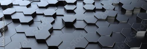 Digital Future Hexagon Background - 3D Rendering