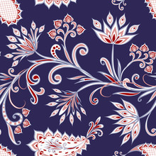Seamless Pattern In Ethnic Tra...