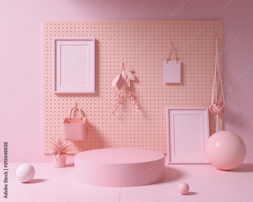 Fototapeta Abstract mock up pastel color Scene, pink geometric shape podium background,3d rendering.