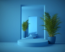 3d Rendering Geometrical Abstract Background Scenes With Podium Scenes In Pastel Color.