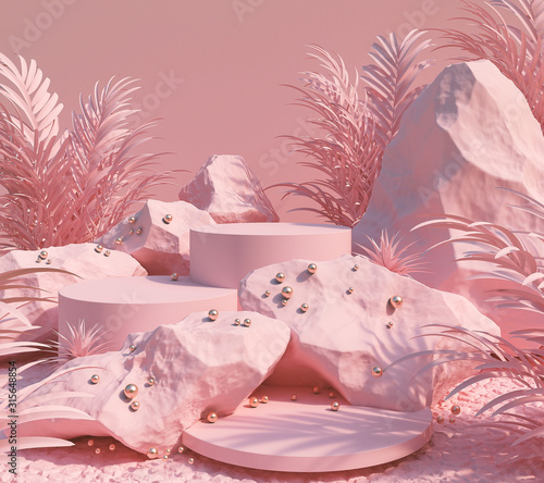abstract pink color geometric Stone and Rock shape background, minimalist mockup for podium display or showcase, 3d rendering Fototapete