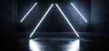Fototapeta Scene - Cyber Virtual Reality  Construction Sci Fi Neon Glowing Futuristic White Blue Cinematic  Arrows On Grunge Garage Concrete Rough Texture Car Parking Tunnel Corridor 3D Rendering