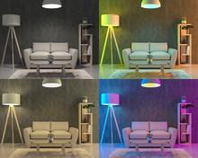 Four Different Color Lights Set Up In The Living Room - 3D Render