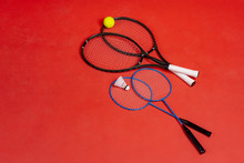 Four Rackets. Rackets For Tennis And For Badminton