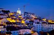 Night cityscape in the old city. Lisbon, Portugal.