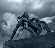 Horse Holding Man Sculpture Of...