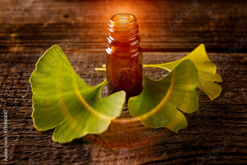 Photo Gonkgo leaves and extract