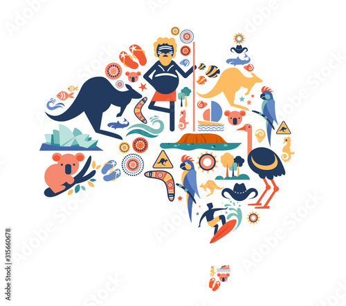 Australia illustration of map with many icons, symbols. Vector design - 315660678