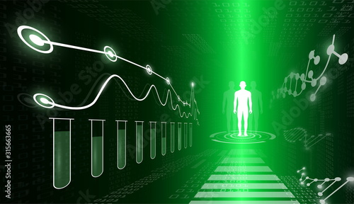 Photo abstract background technology concept in green light,human body heal,technology