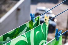 Waschespinne, Hung Up To Dry, Clothes Dry On A Rope In The Balcony