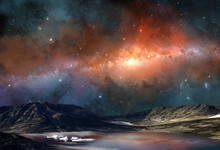 Space Scene. Milky Way In Colorful Nebula Above Mountain With Lake And Glacier. Elements Furnished By NASA. 3D Rendering