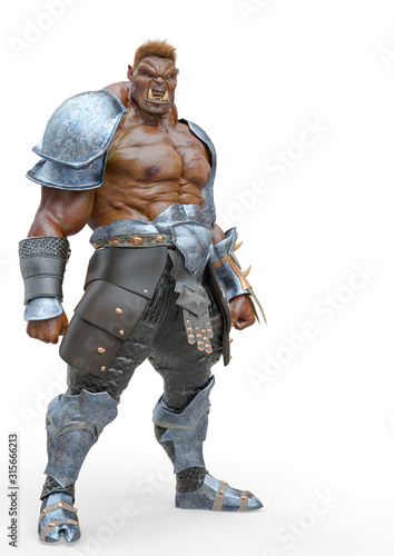 orc doing a big guy pose in a white background