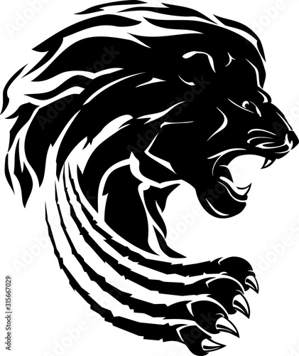 Fototapety, obrazy: Lion Wild Claw Attack Silhouette