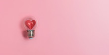 Red Heart In Light Bulb On Pin...