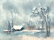 Watercolor Landscape. Lighted ...