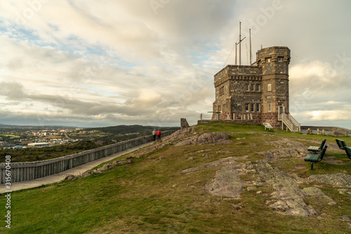 Cabot Tower on top of Signal Hill was once used for flag mast signalling and by Marconi Wireless, Today it house a visitor center, St Fototapeta