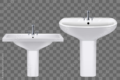 Cuadros en Lienzo Set of Classic ceramic rectangle and oval washbasins with water tap