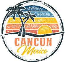 Vintage Cancun Mexico Tropical Vacation Destination