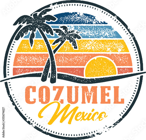 Vintage Cozumel Mexico Tropical Vacation Destination Fotobehang