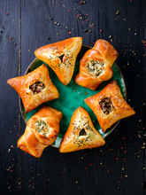Delicious Deep Fried Samosa Pies With Meat