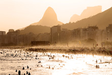 Copacabana Beach At Sunset In ...