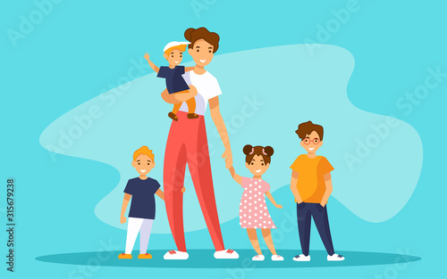 Photo Nanny babysitter with group of kids or young mother of many children