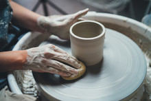 Closeup Shot Of Female Ceramic...