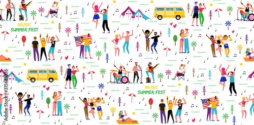 Photo Seamless pattern for the music summer festival