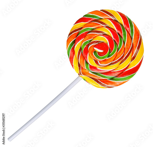 Big sweet rainbow lollipop, red, yellow, green spiral stripes from fruit berries juices Poster Mural XXL