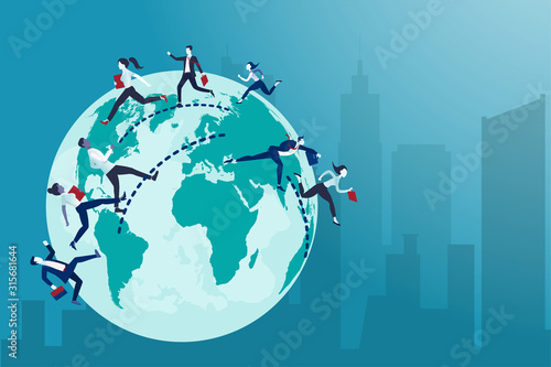 Fotomural Vector of business people running from one country to the other