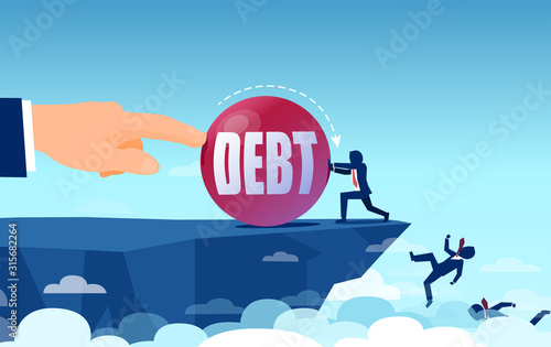 Vector of bankrupt business people falling of the cliff Canvas Print