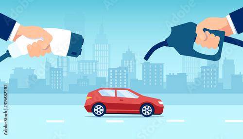 Fototapeta Vector concept electric vs gasoline car choice obraz