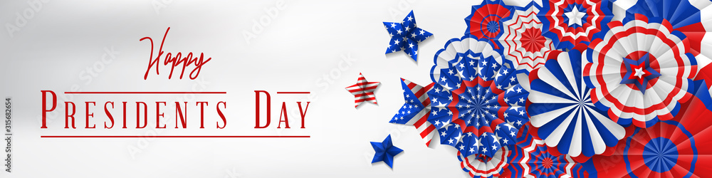 Fototapeta Presidents' Day. Presidents Day poster. Happy Presidents Day Background and symbols with USA flag. Vector illustration - Presidents' Day in the United States.